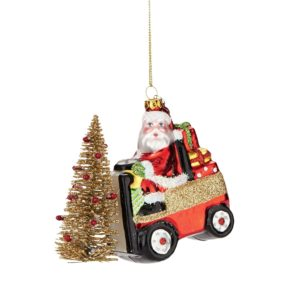 Santa on a Forklift Ornament