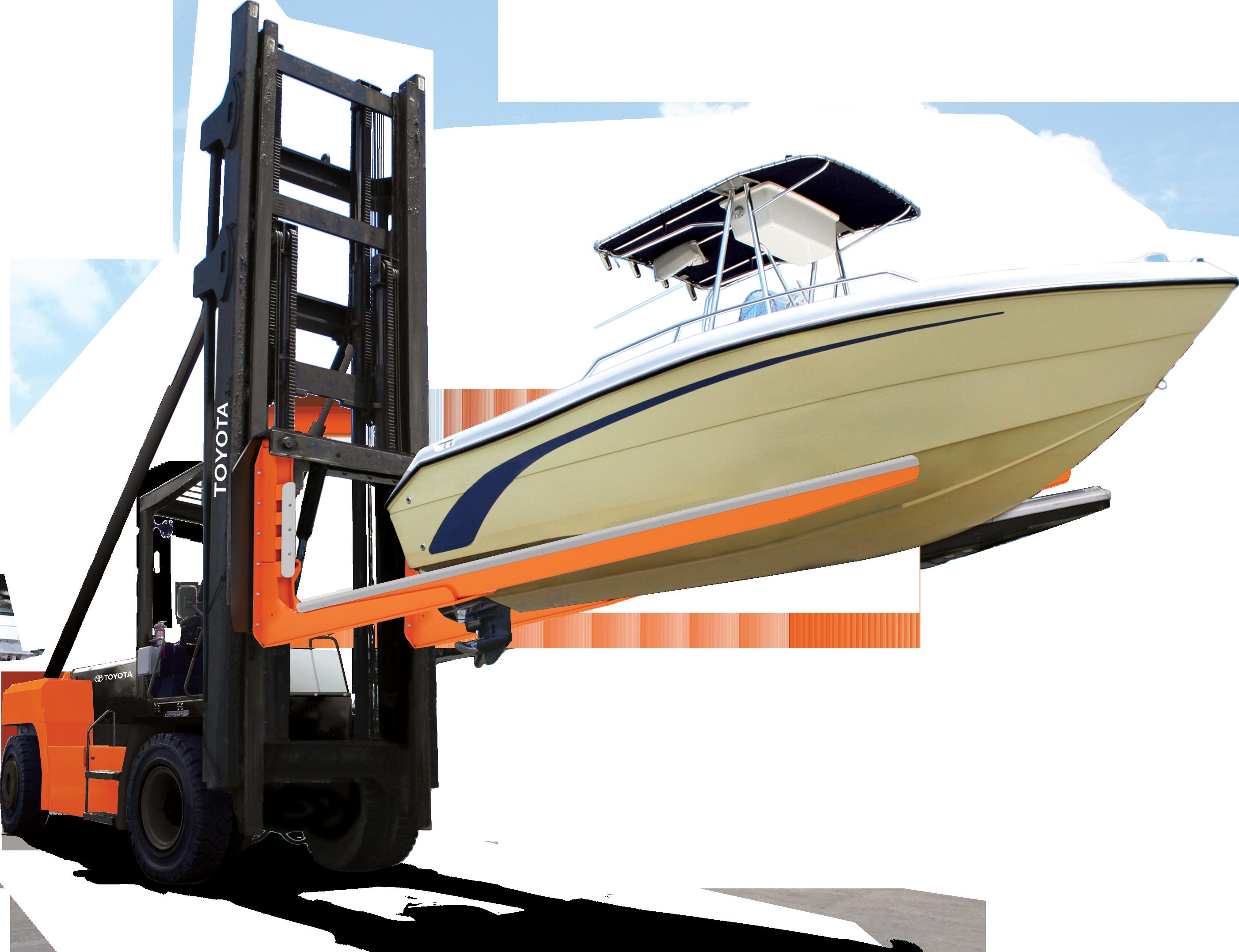 High Capacity Marina Forklift Lifting a Boat