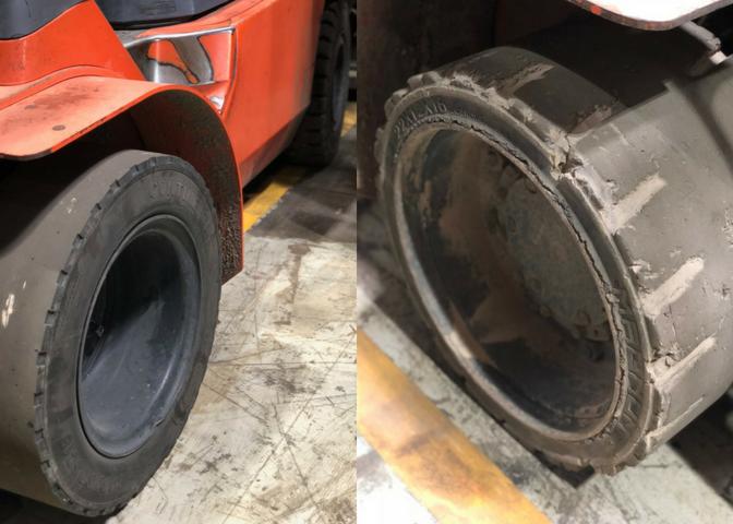 Worn Forklift Tires